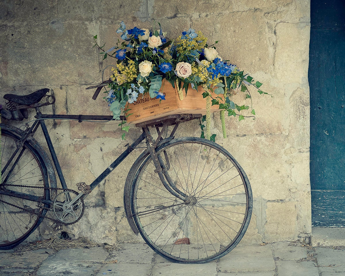 "Bicycle Photography, Travel, Bicycle, Flowers, France, Teal Blue, 8x10, ""Bike In Pujols"" - photogodfrey"