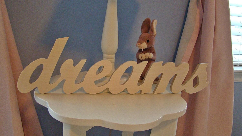 Wood Word Art Dreams Letter Nursery Home Decor Wedding