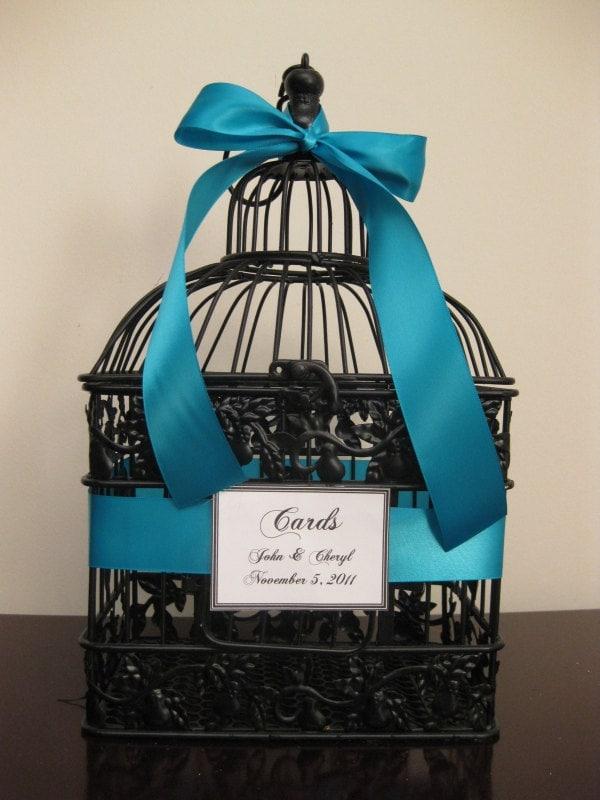 Wedding Gift Card Cage : Bird Cage Wedding Card Holder With Teal Ribbon / Wedding Card Box ...