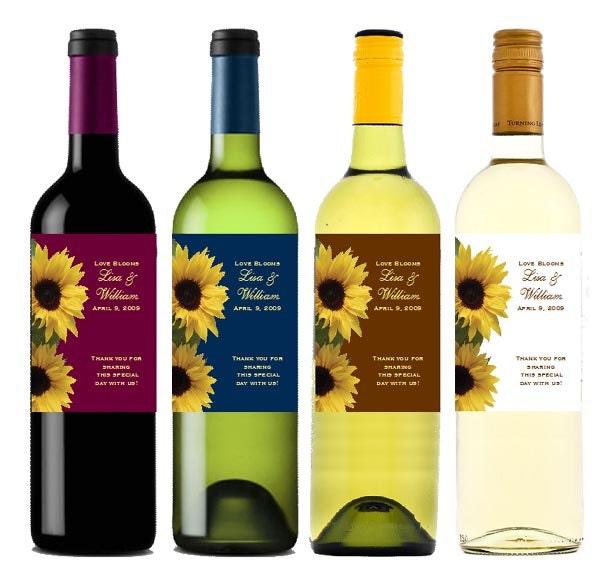 SUNFLOWER bridal shower wedding wine bottle labels by ...