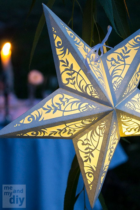 Handmade Paper Star Lantern with Floral Cutout