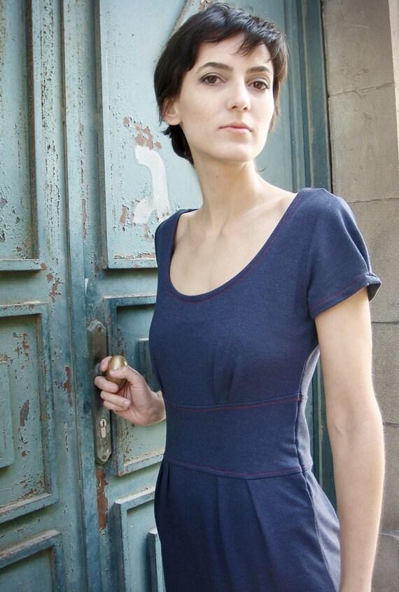 Trendy Blue Dress with Red Seam - YollaKlea