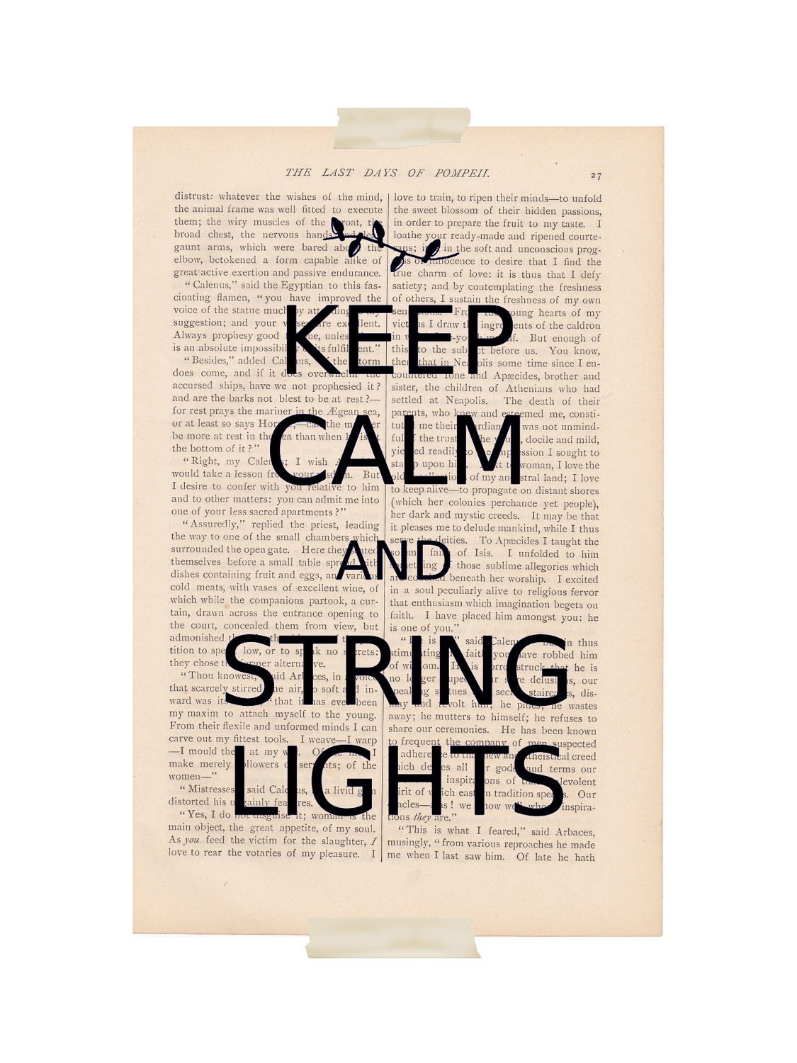 Items similar to Keep Calm and String Lights - dictionary art book page print christmas decor ...