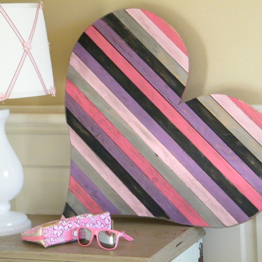 Large Heart Wall Decor : Wood pallet heart large wall art wooden by