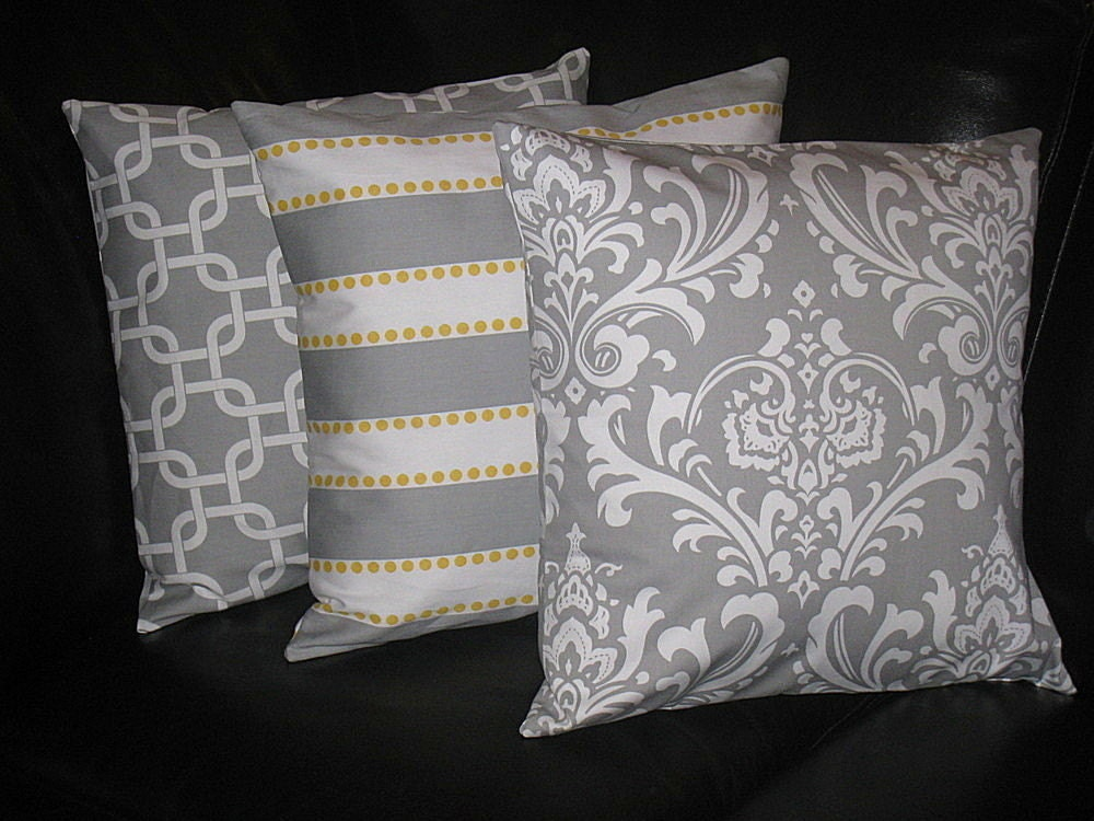 Decorative Pillow Trio : Items similar to Decorative Pillows Storm Gray 18
