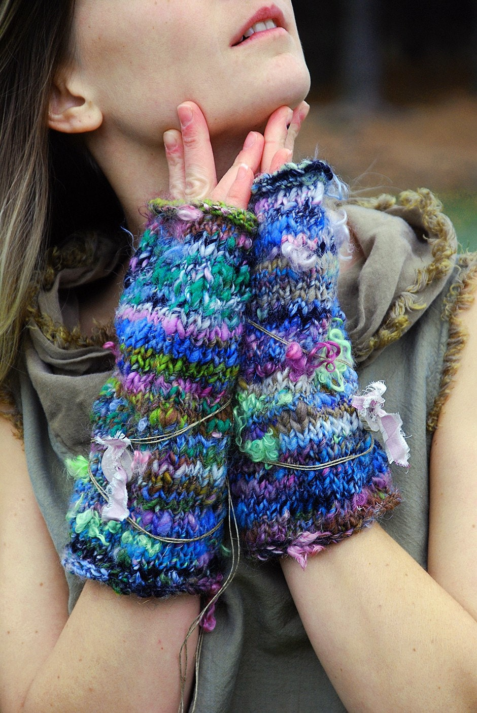FREE US SHIPPING  ooak fingerless gloves hand knit by EarthenPurl from etsy.com