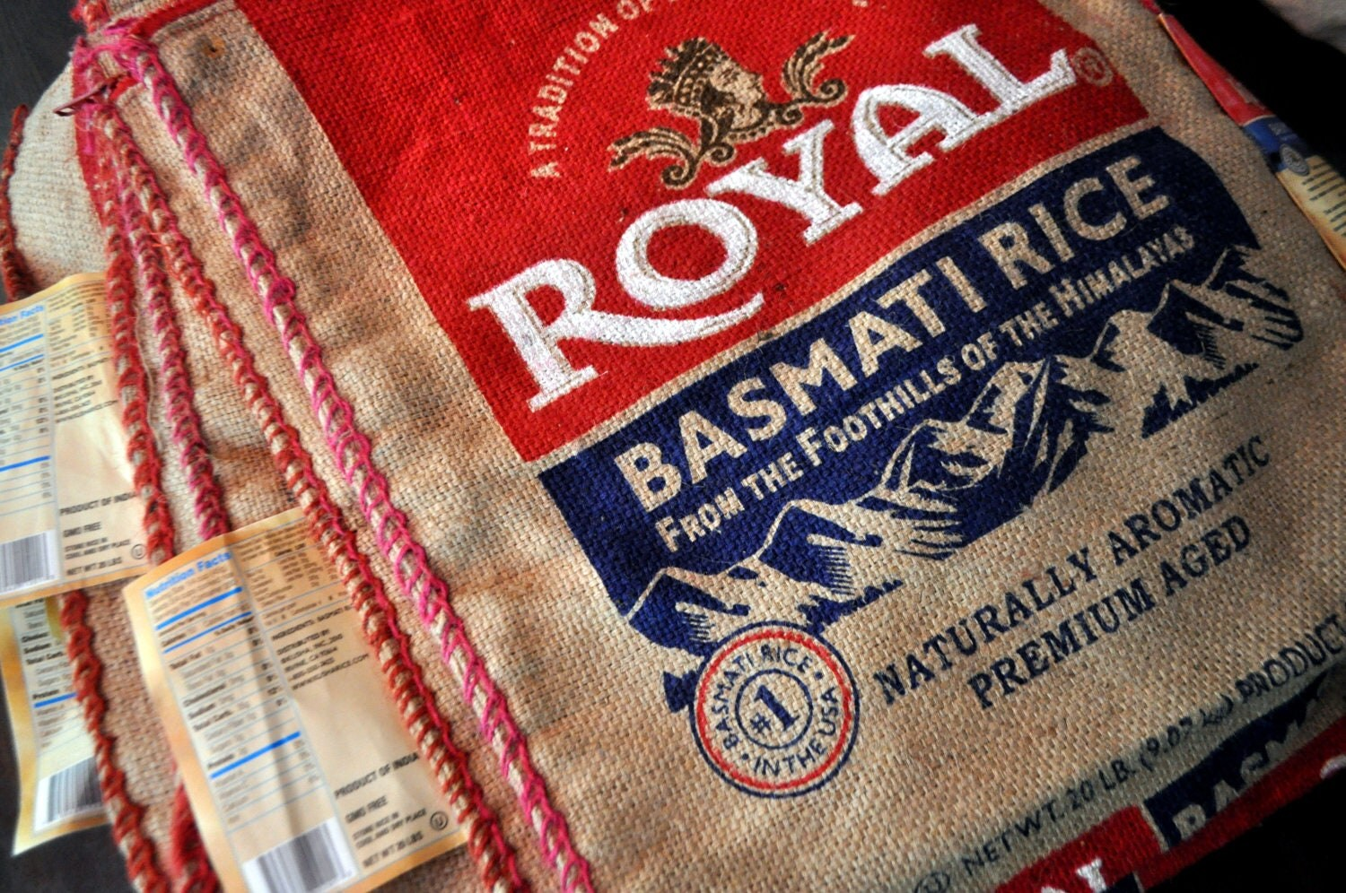 Burlap Basmati Rice Bag for Upcycle Crafting