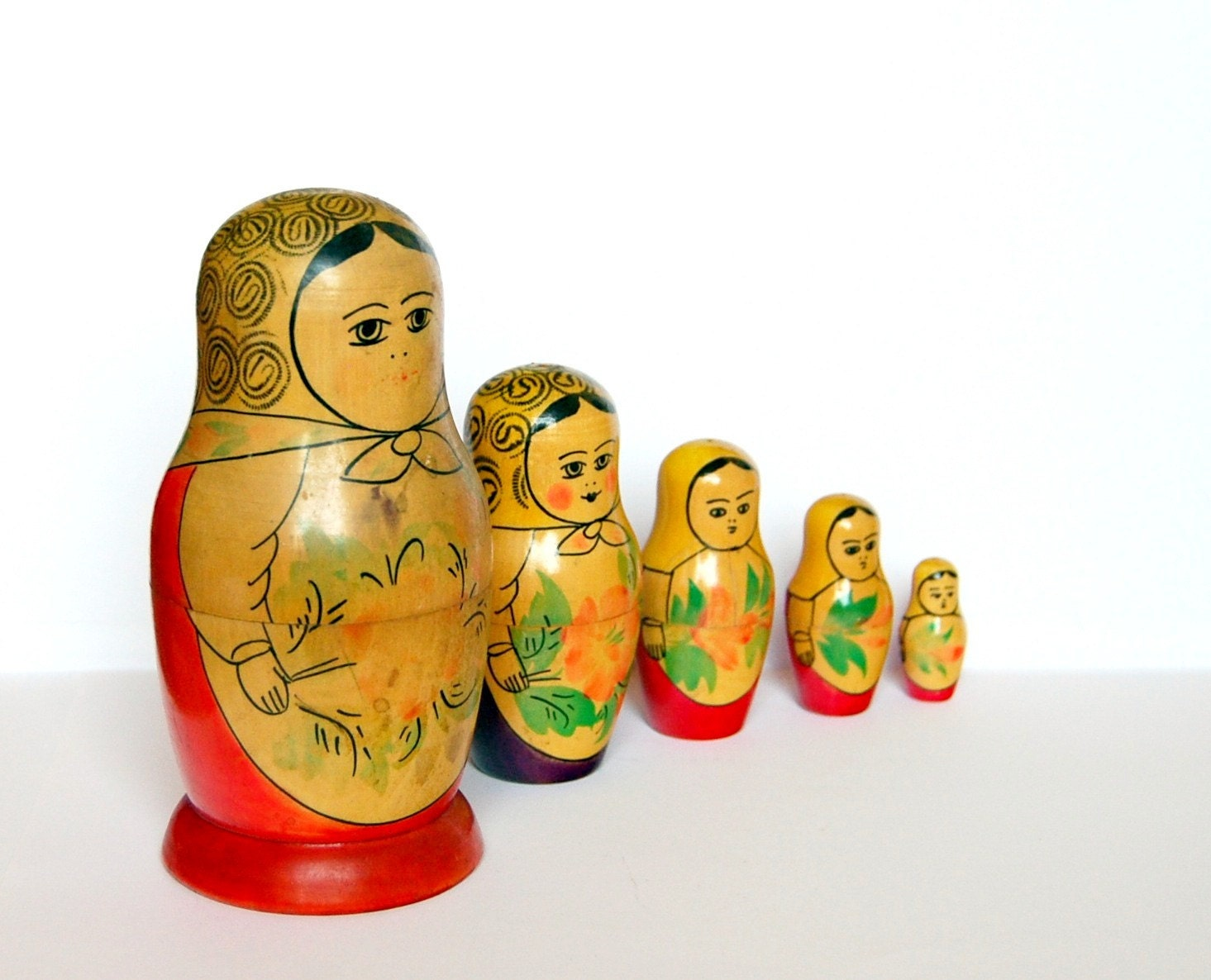 Vintage nesting dolls matryoshka from Soviet Union