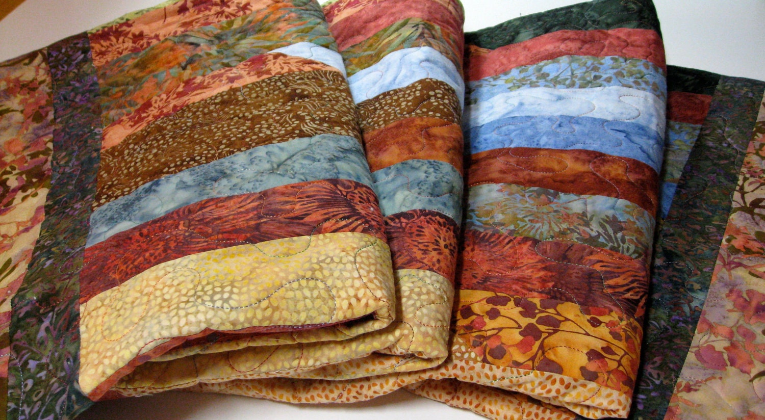 Quilted Lap Throw Cottage Chic Batik - SallyManke