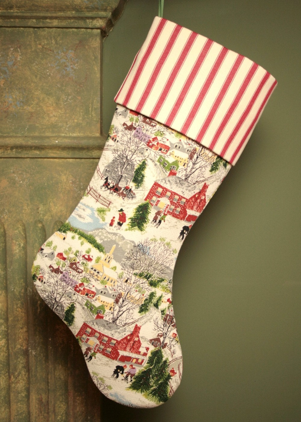 "Рождество ""Глубокий снег"" Бабушка Мозес чулок - Vintage Barkcloth с Чехол манжеты"