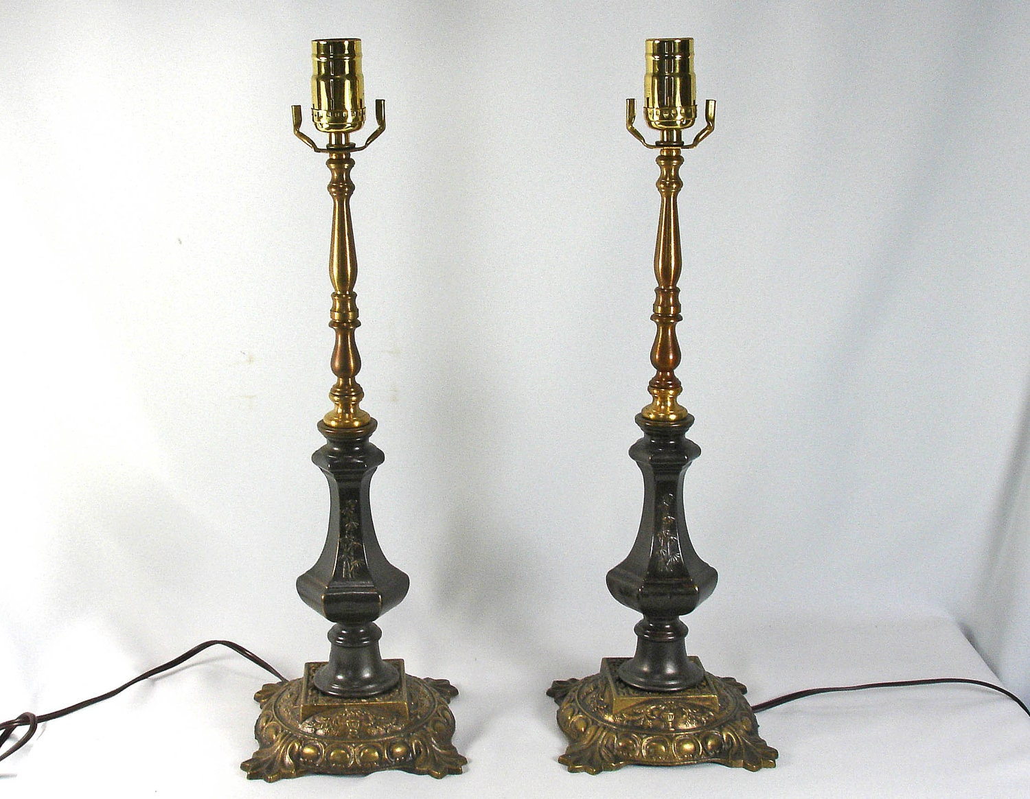 table lamps pair solid brass custom hand made from by. Black Bedroom Furniture Sets. Home Design Ideas