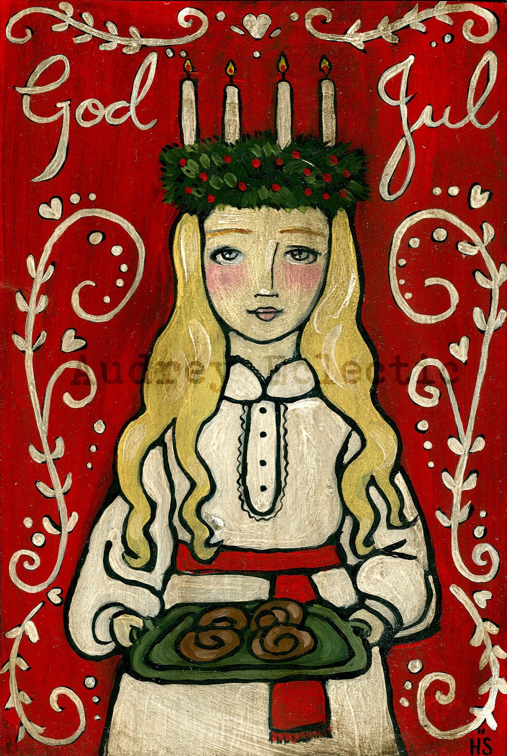 PRINT St. Lucia swedish Christmas God Jul - audreyeclectic