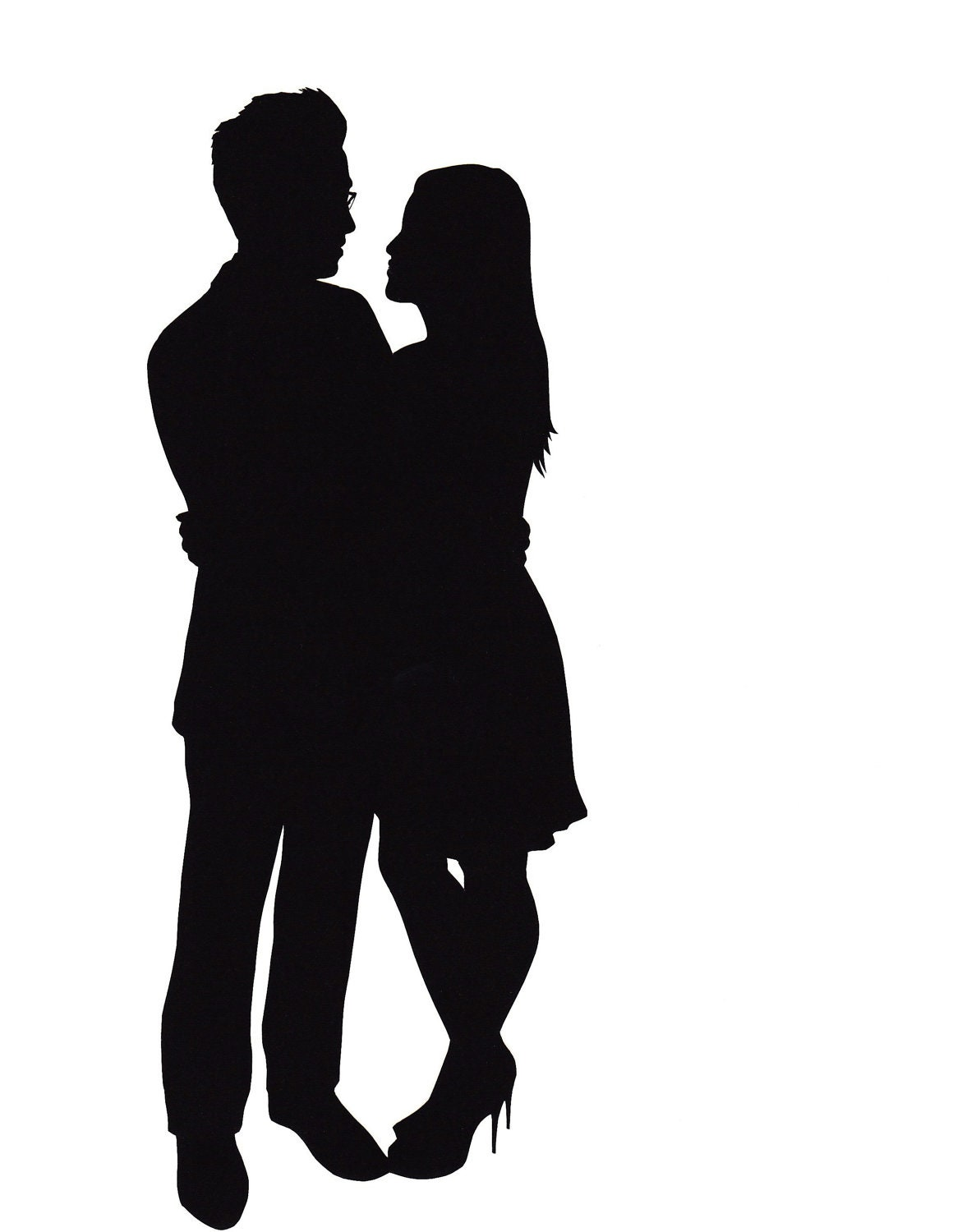 Request a custom order and have something made just for you Couple Silhouette Hugging