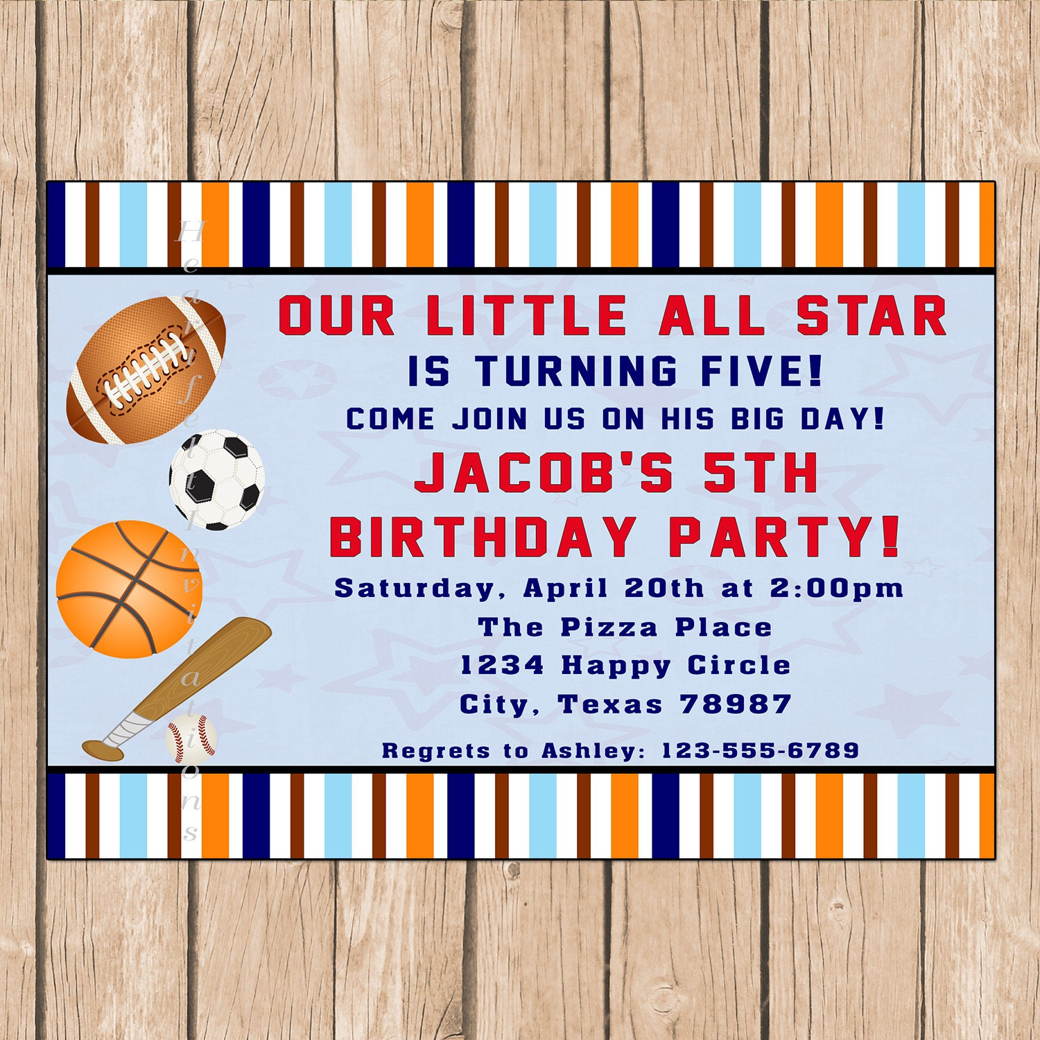 All Star Sports Birthday Invitation Football, Basketball, Soccer, Baseball Summer, Spring - 1.00 each printed or 10.00 DIY file