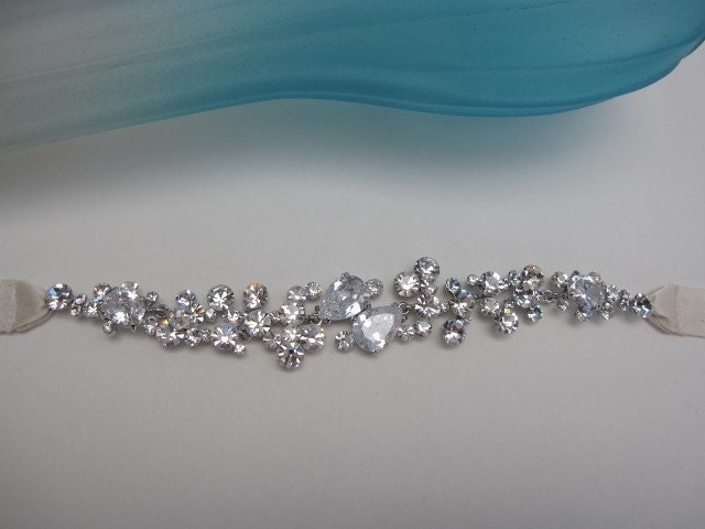 Swarovski rhinestones ivory ribbon headband --bridal Tiara, headpiece, bridal jeweler, Swarovski rhinestones,ivory ribbon,bridal sash
