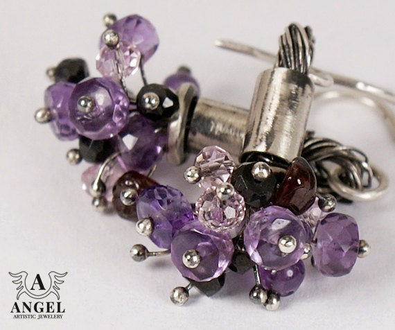 VIOLET HILL, Violet Tourmalines,Purple Garnet, Sterling Silver Earrings - Womens Earrings - Rustic Earrings - Etno Jewelry - AngelJK