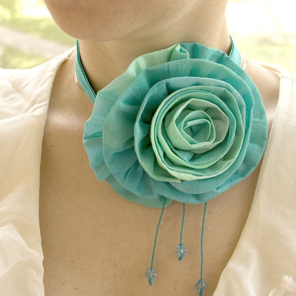 Blue-green FLOWER - necklace-necktie