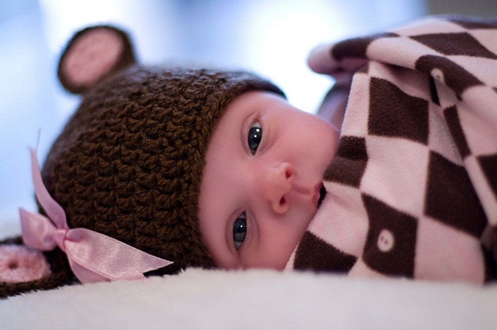 Sweet Teddy Bear girl hat with funny ears. Sizes 0-12 month