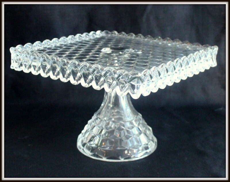 Vintage Fostoria Clear Glass Cake Stand By
