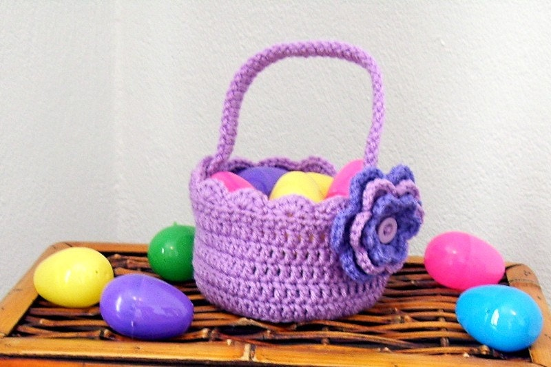 Lavender Crocheted Basket with Handle