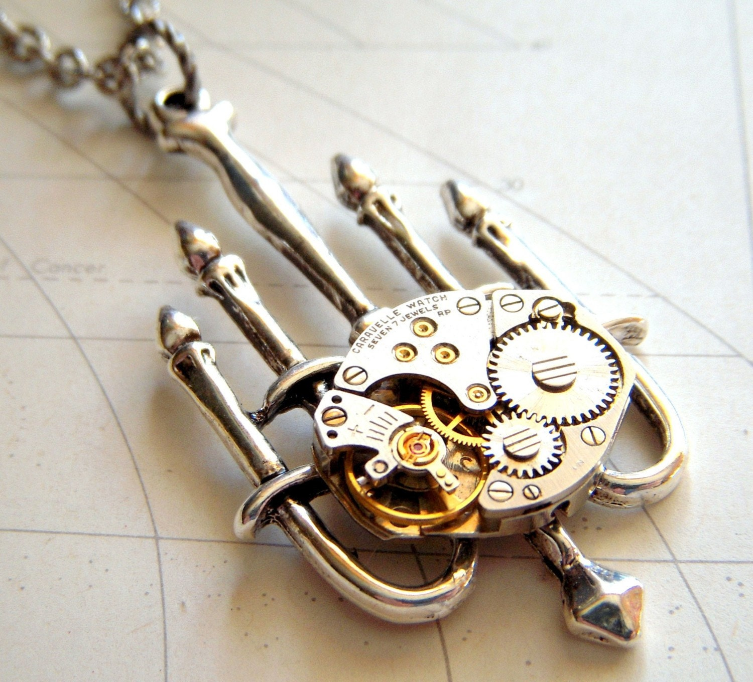Steampunk Necklace Gothic Chandelier with Vintage Watch Movement - Limited Edition - Original Design from Cosmic Firefly - Victorian Gothic Style