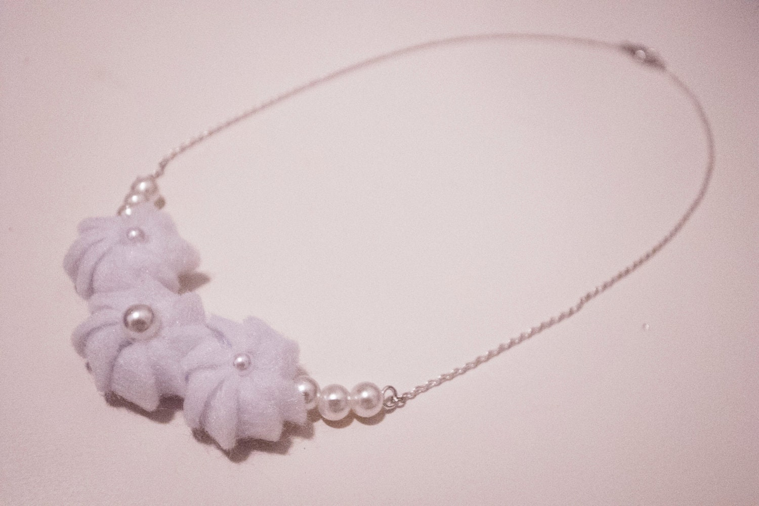 Felt Whipped Cream  with Pearls Necklace/Bracelet - Custom Made Available