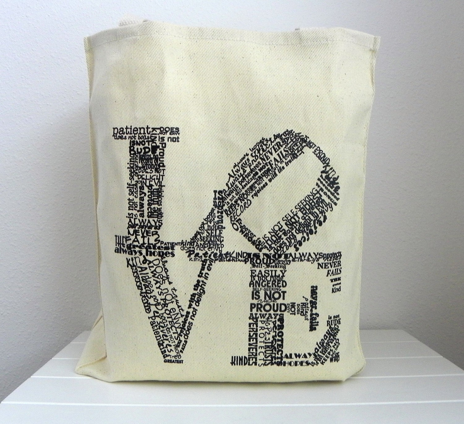 Love Never Fails Natural Canvas Tote