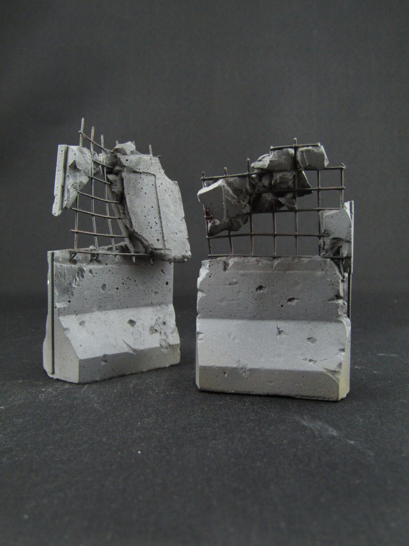 Table Top Wargame Custom Destructible Barrier Tall Walls set of 4