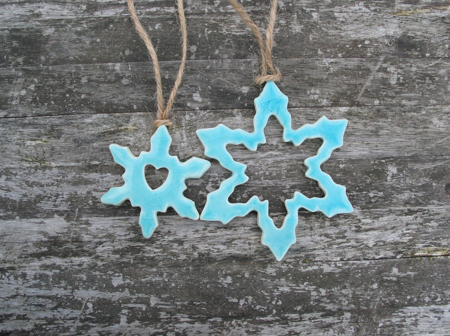 Snowflakes Winter Ornaments turquoise Ceramic Christmas decorations hemp twine - damsontreepottery