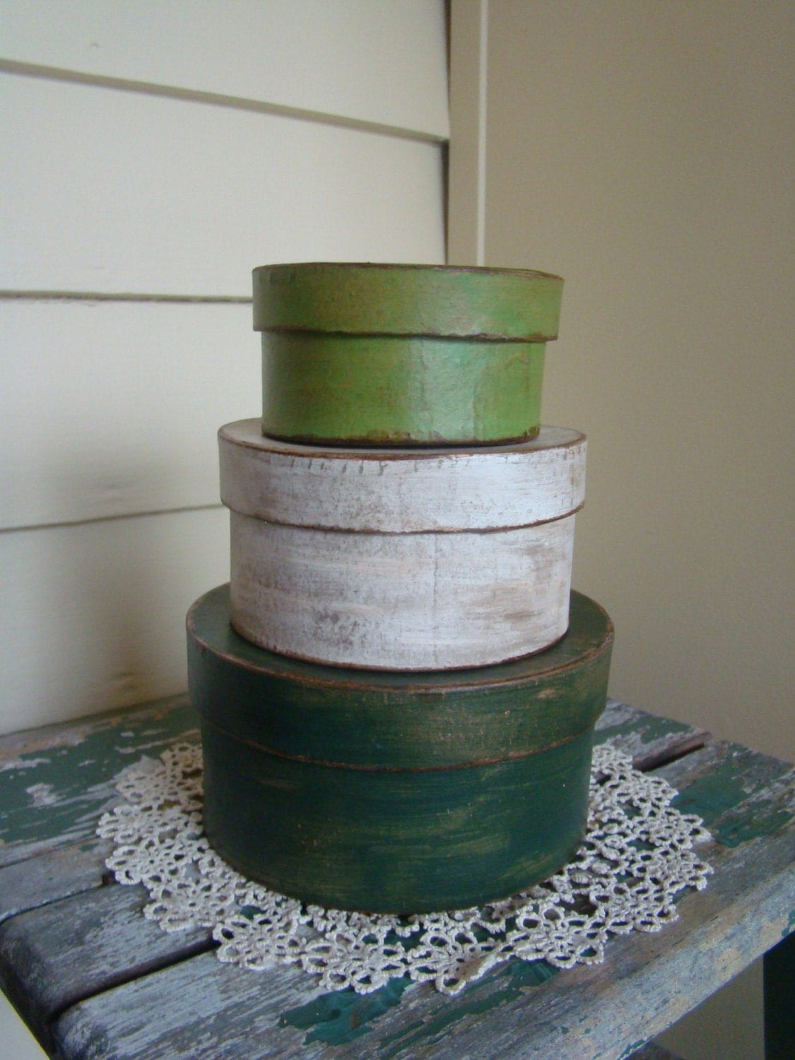 Primitive St. Patricks Day Pantry Stackable Paper Mache Boxes - TheBrokenHouse