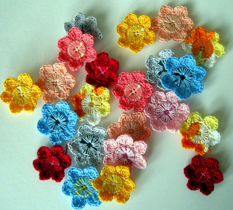 Button Flower Crochet Flowers PDF Tutorial by outofinkpatterns