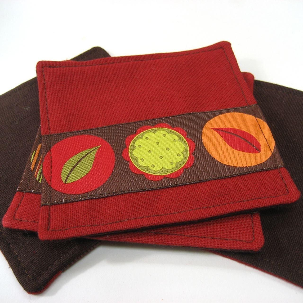 Artisan Handmade Organic Cotton Modern Floral Coasters