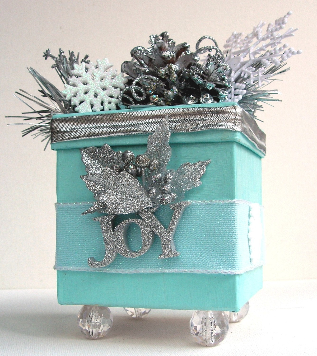 Decorative Silver Sparkle Winter Wonderland Joy Trinket Keepsake Gift Box