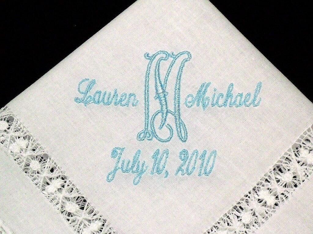 irish linen wedding handkerchief embroidered with by jfybride