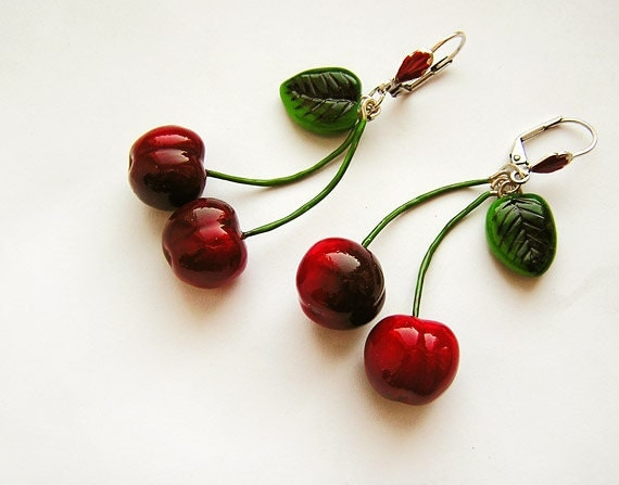 Cherry Earrings Red, cherry jewelry, bright jewelry, handmade, red jewelry, pin-up, cherries - AbraKadabraJewelry
