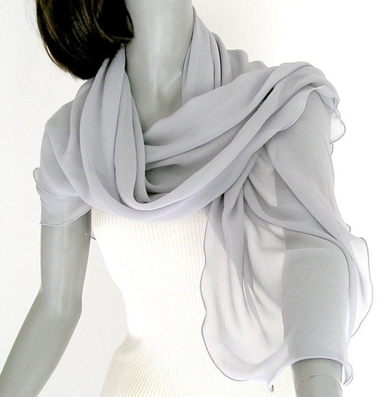 "Silver Gray  Shawl Wrap 100% Silk Chiffon, scalloped edge, 21"" x 74"". - artinsilk"