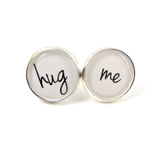 Hug Me Earring Studs - Black White Silver Posts - Love Jewelry -  Love Message - Gift Under 20 25 - Free Shipping Etsy - BoxingDaySale - MistyAurora