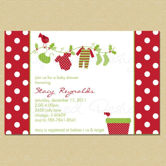 christmas holiday baby shower invitation neutral boy or girl