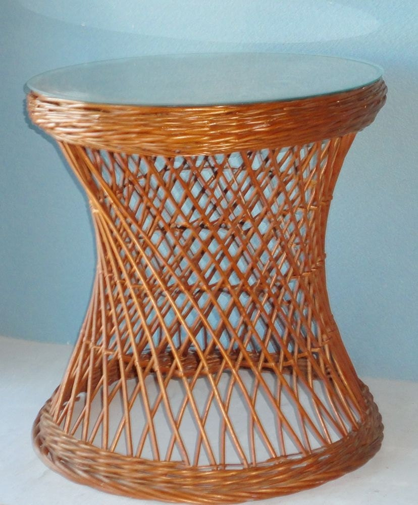 Rattan Coffee Table Etsy: Vintage Wicker Side Table With Glass Top By TheArtofChic
