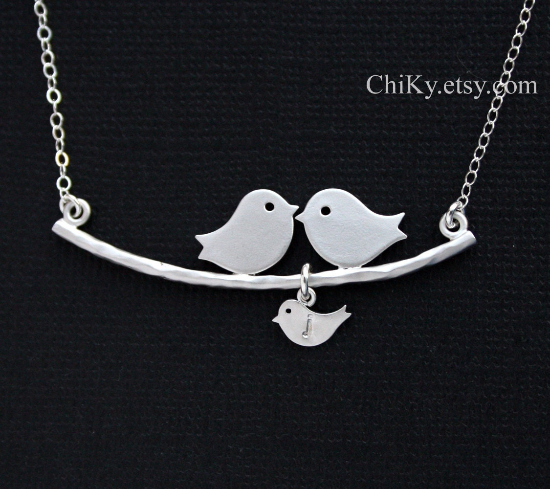 Bird necklace, INITIAL necklace, family necklace, bird jewelry, personalize new baby shower gifts, STERLING SILVER, mothers day gifts