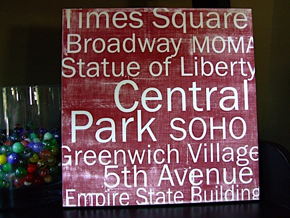 New York City in Red - 12x12 CAFE MOUNT