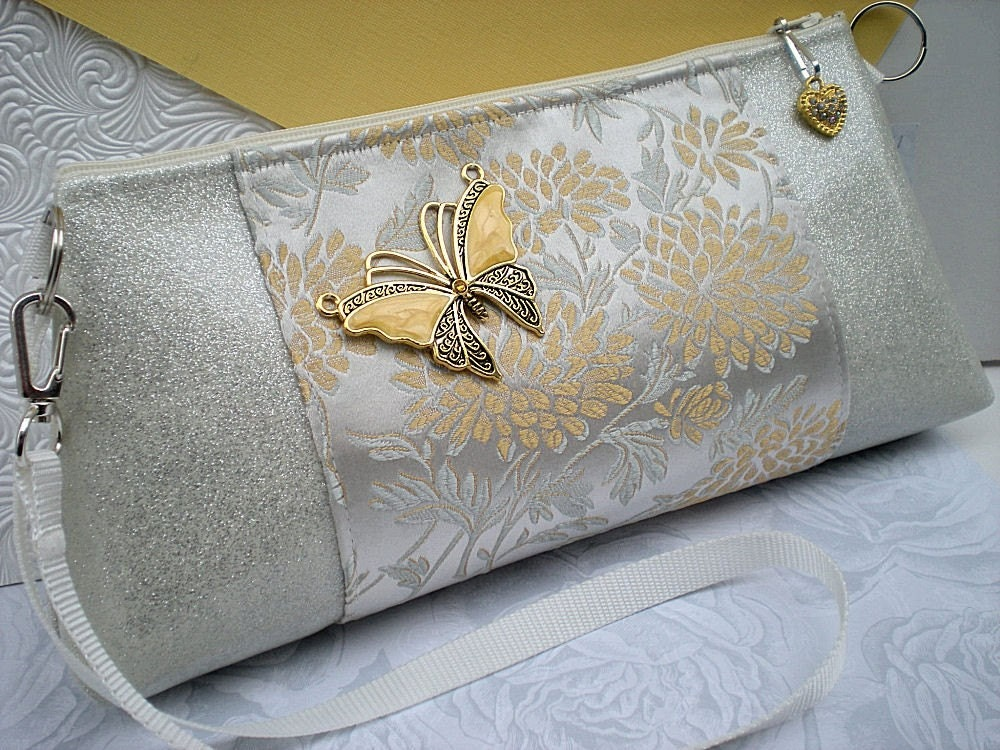 Butterfly Clutch Bag in Ivory, Soft Golds and Silver