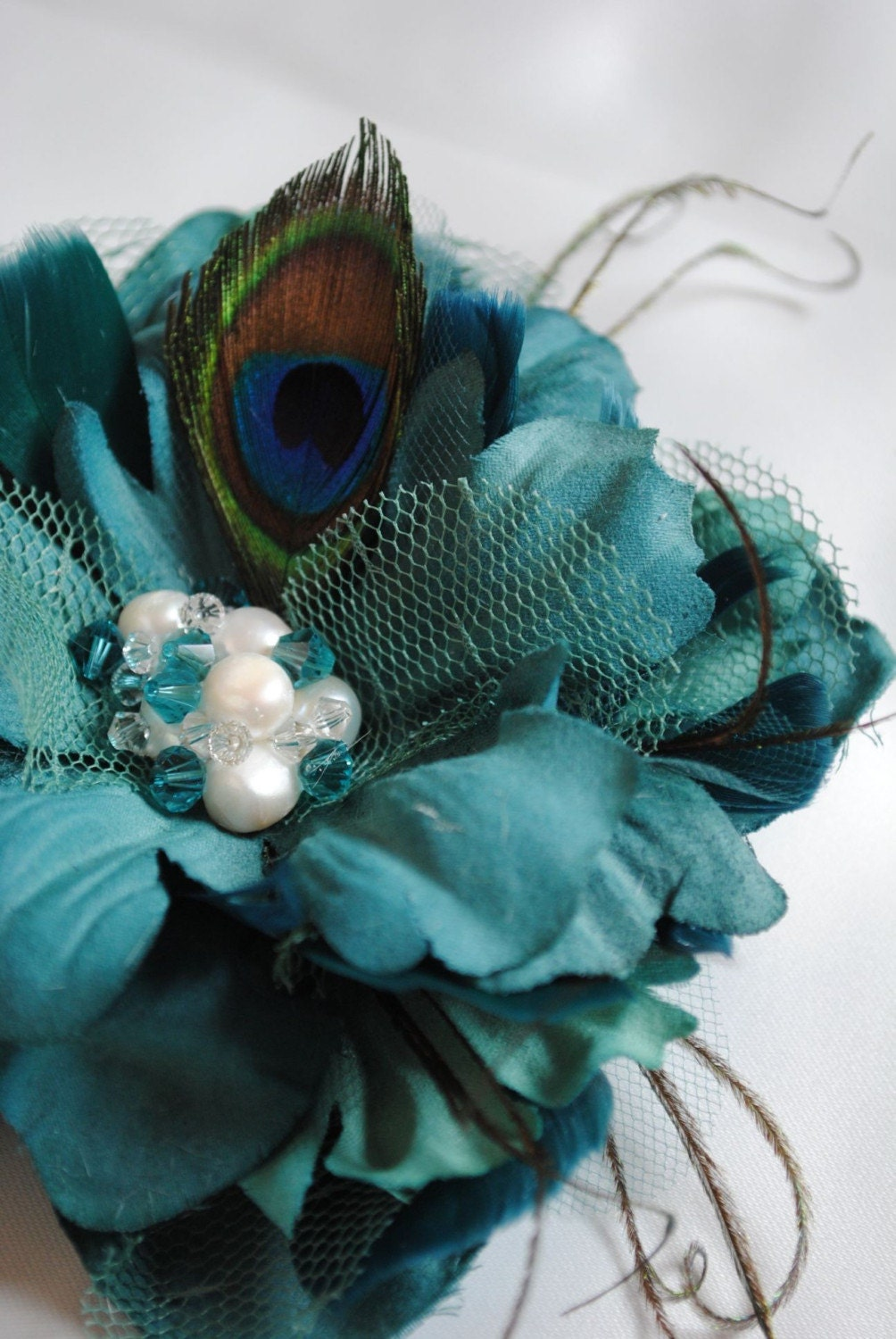 Bella - Peacock Inspired Bridal Hair Flower Comb Fascinator