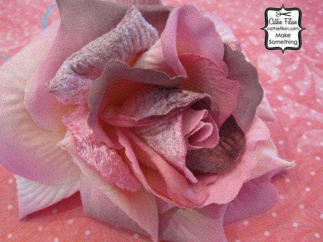 Бархатная роза - сливы и розовый - Дамских, Измененные Couture, волос Цветы, Шелковый
