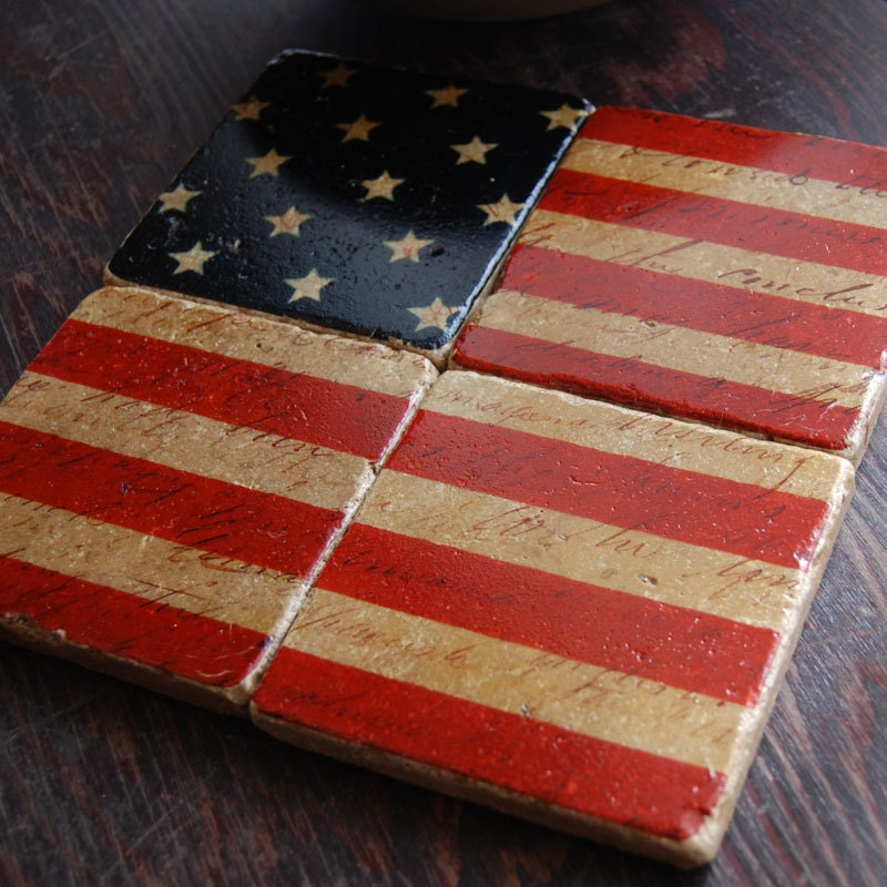 Stars and Stripes Forever - Americana stone coaster set