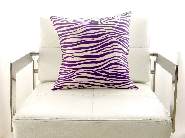 SALE Discount offer SET OF 2 Purple and off-white zebra silk pillow cover 16 inch