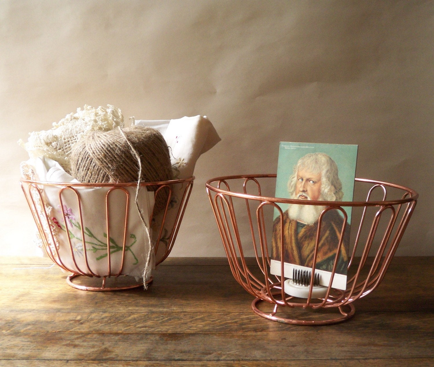 pair of copper wire baskets