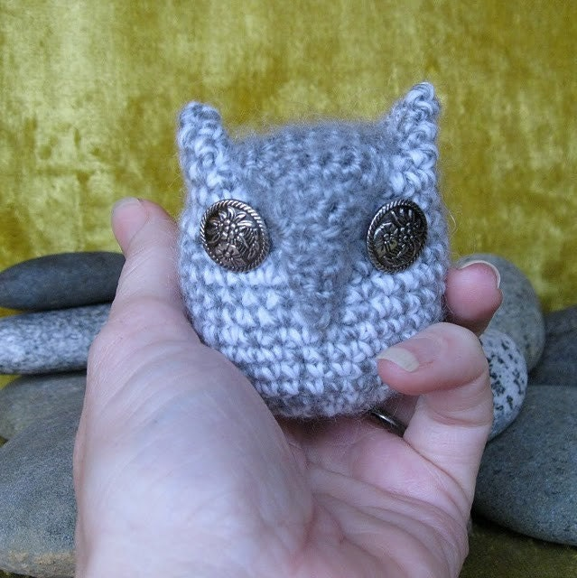 Soft Grey and White Owl with Reclaimed Metal Button Eyes with a Flower Motif. Handemade. Crocheted.