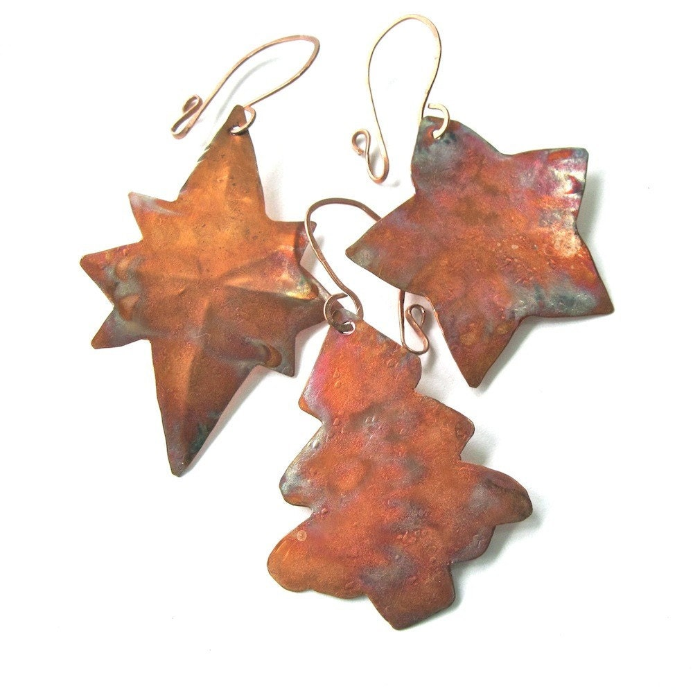 Copper christmas tree ornaments handmade by roughmagicholidays