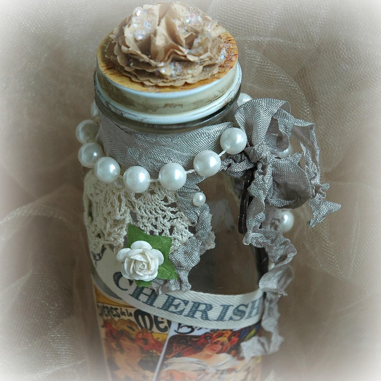 Потертый Chic, потертый шик Декор Дом, Измененные бутылка, Cherish Смешанные бутылки Средства массовой информации,